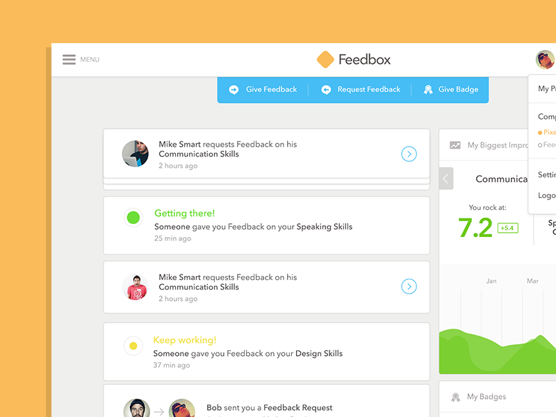 Feedbox - Web App Dashboard