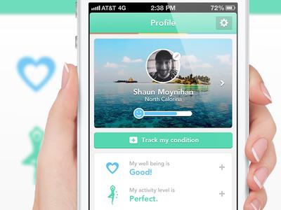 Medical/health App Flat UI Profile v3 medical app health app medical health diary iphone app ios app mobile app mobile ios dashboard profile ui flat