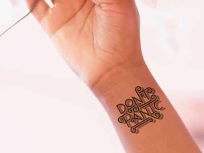 Don t Panic Inkbox Tattoo illustration quote black and white licensing tattoo 3d type typography handlettering lettering