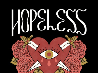 Hopeless Romantic witchy tarot wavy funky tattoo valentine dagger heart roses floral illustration type typography handlettering lettering