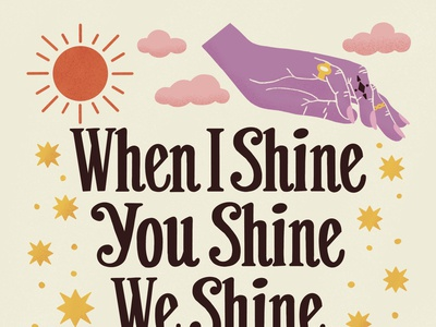 We Shine Together 60s 70s retro poster boho tarot witchy mystical hands moon sun stars illustration type typography handlettering lettering