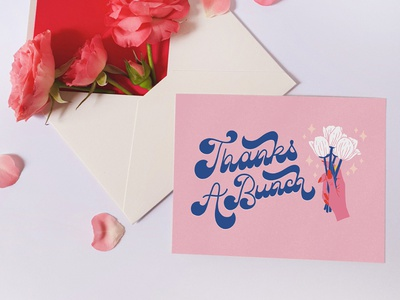 Thanks A Bunch Greeting Card hands pink art licensing greeting card flowers floral illustration type typography handlettering lettering