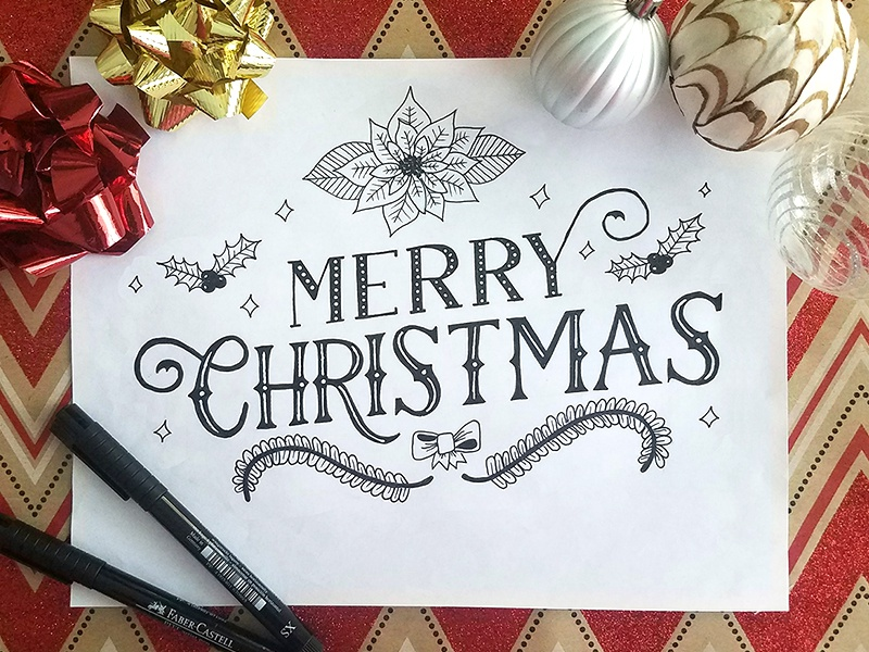 Merry Christmas 2017 black and white floral flower poinsettia gold red glitter holiday typography type handlettering lettering