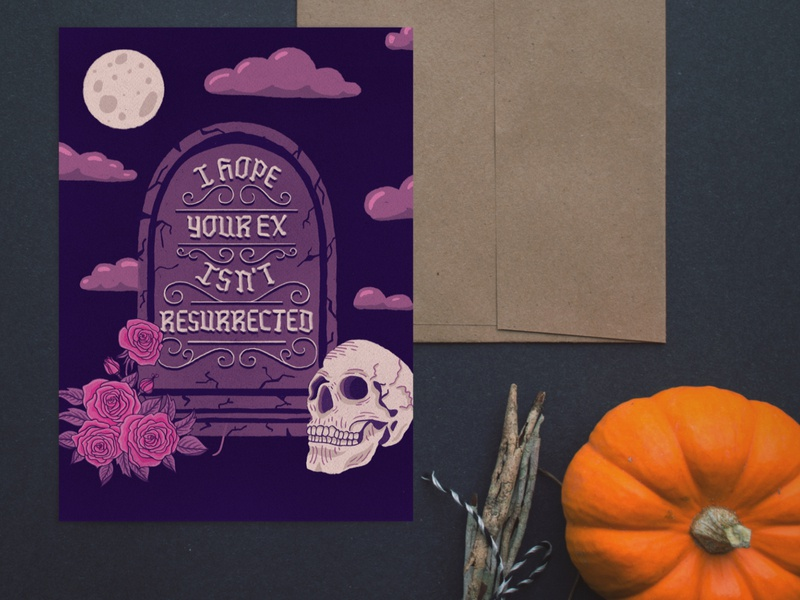 Resurrected Ex bouquet roses headstone greeting card halloween skull grave flowers floral illustration type typography handlettering lettering