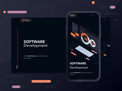 Development Agency | Landing page development agency devops clean ui illustration branding agency uidesign dark theme isometric illustration