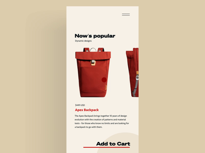 Checkout | Transition typography motion animation red backpack checkout credit card ecommerce app circles transition interaction