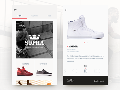 e-commerce concept UI product shoes app store cart shop ecommerce