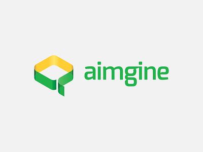 Aimgine digital agency logo design logo mark symbol 3d typography digital agency online custom green yellow chadomoto