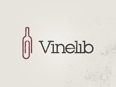 Logo design for Vinelib logo sign mark icon wine paper clip logotype serif slab creative simple