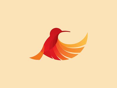 Bird illustration for a logo design sign mark hummingbird gradient red illustration bird logo design logo