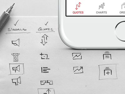 Icons design and selection process iphone ios interface financial trading sketch app sketch drawing pencil design icon icon design