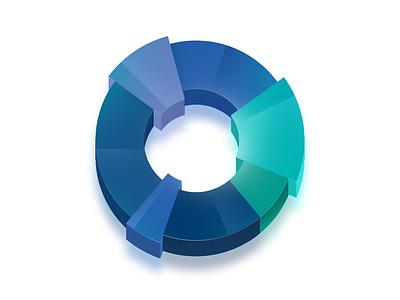 An illustration for a website illustration website drawing piechart pie blue social color 3d icon димитър петров