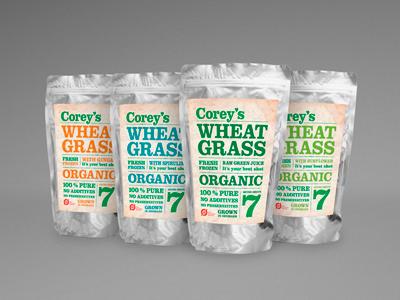 Corey's Wheatgrass packaging wheatgrass