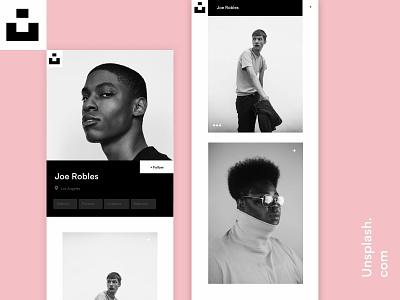 Unsplash user profile design