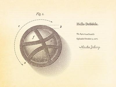 Dribbble Debut - Technical Illustration vintage patent drawing hatching technical illustration debut