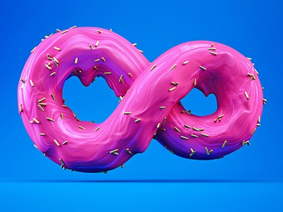 Sweet infinity sweet donut illustration render ping blue colors photomanipulation c4d photoshop 3d