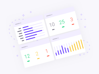 Illustration for Populate analyse collaborate landing dashboard design sketch illustration