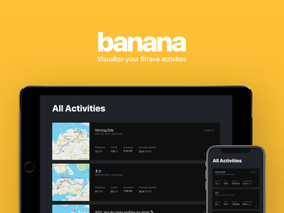 Banana - Visualize your Strava Activities sports banana responsive cycling strava product design app