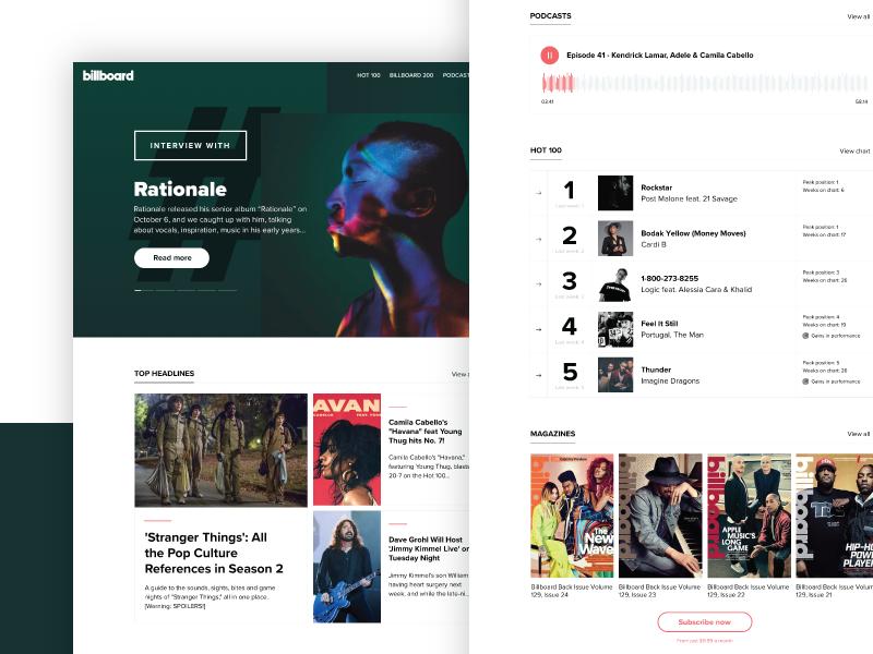 Billboard Redesign website blog news chart music gradients colors hero landing page ux ui dribbble