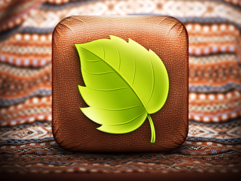 WholeApp icon best texture pattern leaf green nature ipad user interface app iphone ios ui icons icon wood tree wooden leather leathern covered cover vegan natural vegetarian button skeuomorph skeuomorphism skeuomorphic experience user