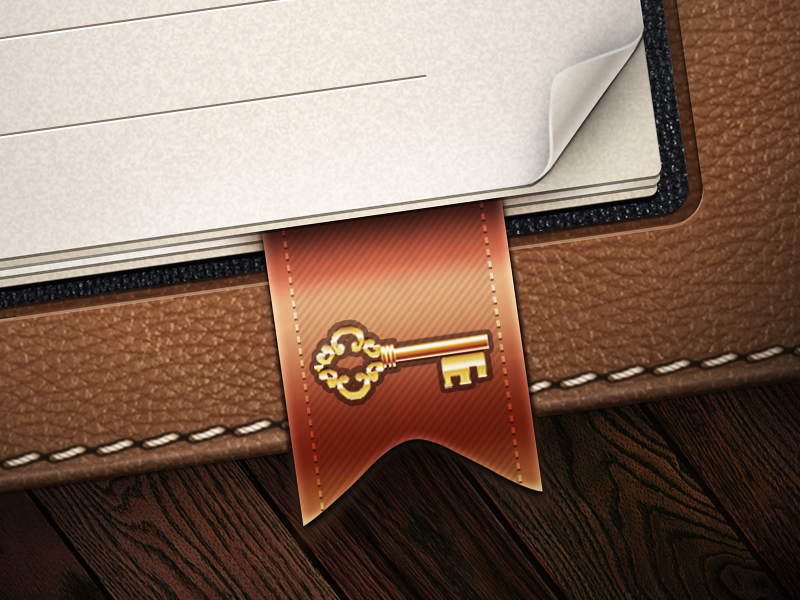WholeApp - Password Reminder best texture pattern ribbon bookmark stitch ipad interface app iphone ios ui icons icon wood stitching wooden leather golden gold cover peel corner key button skeuomorph skeuomorphism skeuomorphic experience user