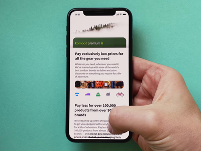 Discounts page card parallax store shop cycling hiking principle prototype feed discount ux outdoor komoot brand product design iphone interface interaction best animation