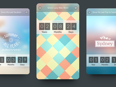 My Day interface pattern flat iphone ios app countdown ui ux day flipper best