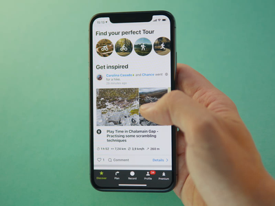 Discover feed on Komoot. Real product implementation user app page scroll like social media activity heart love post tap komoot mobile ux interface interaction feed iphone product design