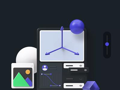 Bento Design Vol. 1 — Parallax blender interaction uiux ui parallax website parallax scrolling parallax ui8net ui8 icons illustration 3d cinema4d c4d