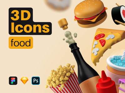 3D Icons / Food birthday cake cake ketchup champagne popcorn pizza burger food cinema4d illustration icon set icon blender icons pack pack icons interaction c4d 3d