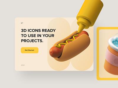 3D Icons / Food obj blender ui8 icon set icon app ui icons 3d cinema4d c4d