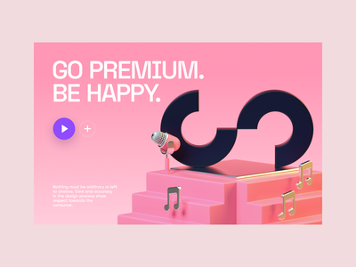 BE HAPPY @stagent web ui startup stairs stage promo music landing illustration icons c4d 3d