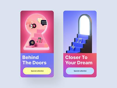 3D Illustrations for a music startup @stagent promo app 3d illustration 3drender illustration design ui 3d cinema4d c4d