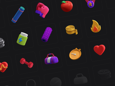 3D Icons Pack - Fitness interaction motion ui8net ui8 icon set icon ui cinema4d c4d icons 3d