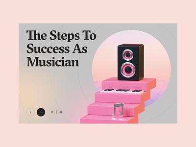 "3D Illustration ""Steps to success"" 3d modeling musician digital illustration illustration banner promo 3dicon stairs speaker landing ui cinema4d spotify music app music 3d c4d"