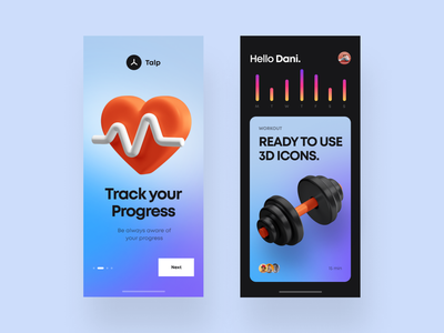 3D Icons / Fitness Pack app illustration branding fitness club fitness app icon set ui icons fitness 3d cinema4d c4d