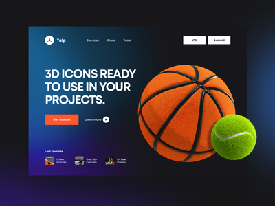 3D Icons / Fitness Pack tennis basketball fitness club ui fitness app fitness icon icon set icons 3d cinema4d c4d