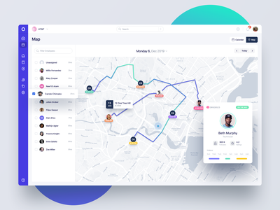 Map View - Fleet Tracking App dashboad webapp timeline ui clean users tracking profile user card user map fleet