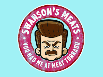 Swanson's Meats quote badge logo badge shirt funny meat tornado meat shop nick offerman parks and rec ron swanson