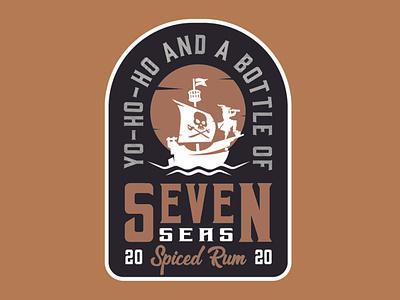 Seven Seas Spiced Rum craftbeer badge logo apparel distillery brewery illustration mark minimal logotype branding packagedesign nautical ship beer label rum ocean buccaneer swashbuckler pirate seven seas
