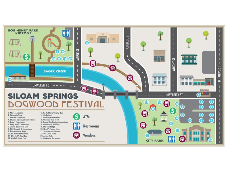 Siloam Springs Dogwood Festival Event Map page magazine brochure publication layout design illustration event map