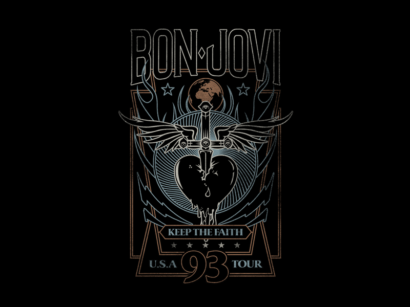 Bon Jovi streetwear music apparel print graphic design band t-shirt merchandise t-shirt band merch bon jovi