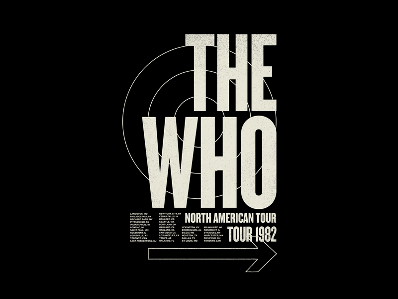 The Who streetwear music apparel print graphic design band t-shirt merchandise t-shirt band merch the who