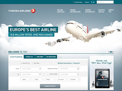 Corporate Website web design art direction airlines ui plane design