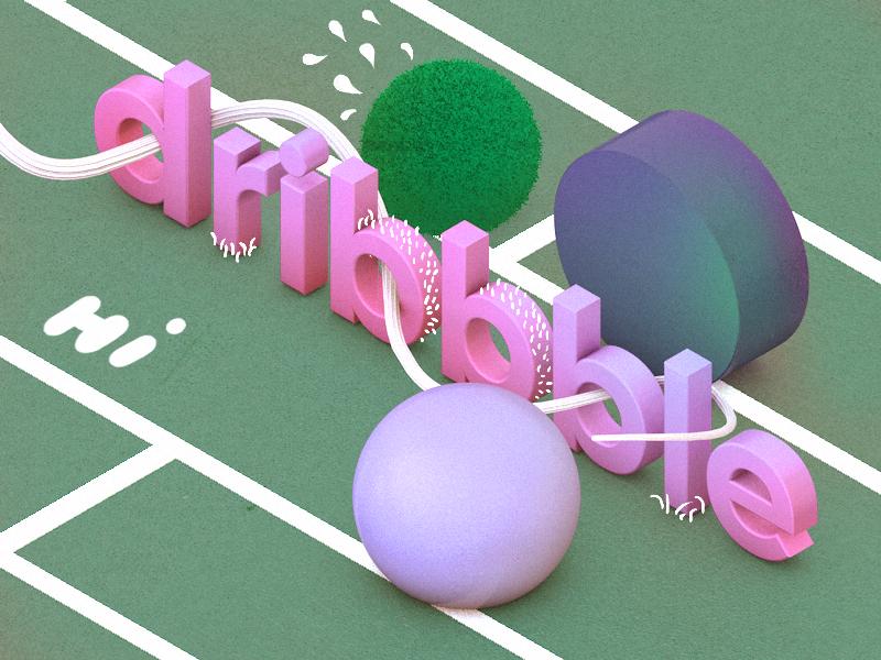 Hi Dribbble 2.0 2d render 3d dribbble debut