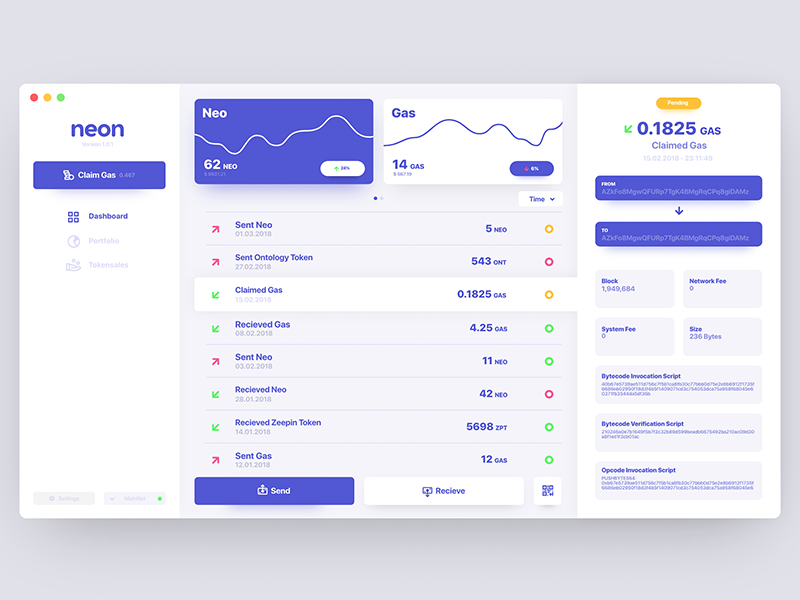Neon Cryptocurrency Wallet neo dashboard wallet currency crypto