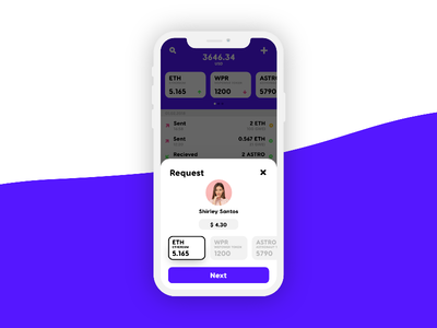 Cryptocurrency Wallet Request Screen Concept
