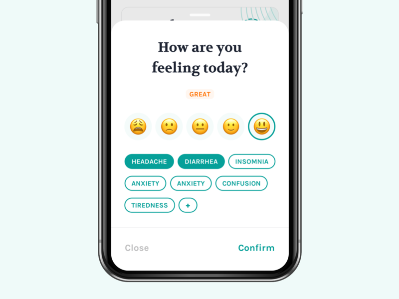 Mood & Side-effect Panel app mood ux ui bottom sheet