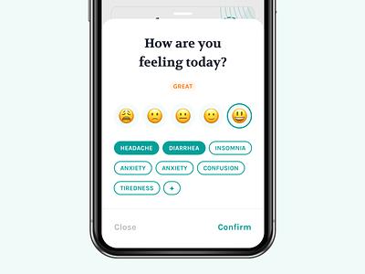 Mood & Side-effect Panel app mood ux ui bottom sheet