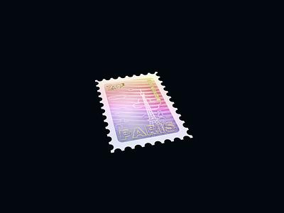 Holo Stamp - Warmup #1 paris stamp octane 3d animation render webdesign warmup holographic 3d